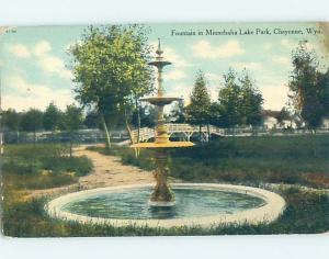 Divided-Back PARK SCENE Cheyenne Wyoming WY H3934
