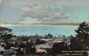 Auckland Harbor from Devonport, New Zealand, Early Real Photo Postcard, Unused