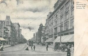 Pa. Wyoming Ave looking north Scranton, carriage, tram, commerce, railroad 1910