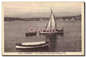 Postcard Old fishing boat View of Cannes taken & # 39ile Marguerite