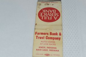 Farmers Bank & Trust Company Knox Bass Lake Indiana 20 Strike Matchbook Cover