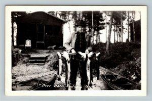RPPC Deer Horn Lodge, Quebec Canada, Fisherman Real Photo Postcard