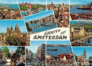 Netherlands Groeten uit Amsterdam, Bridge River Boats Harbour Ship Tram Cars