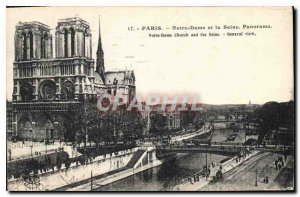 Postcard Old Paris Notre Dame and the Seine Panorama