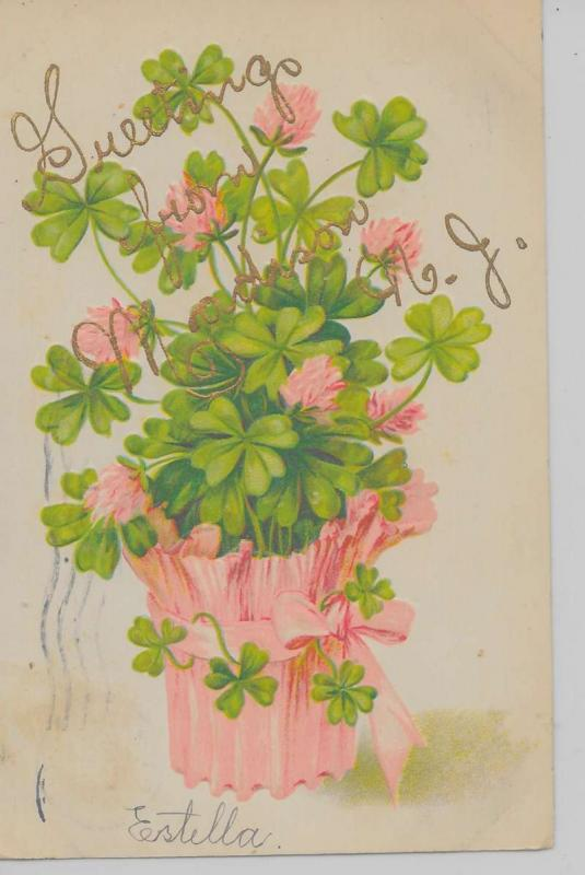 Madison New Jersey Greetings From flowers 4-leaf clovers antique pc Z19904