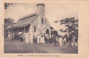Belgian Congo Boma La Sortie de l'Eglise apres la messe