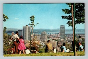 Montreal Qu- Quebec, Mount Royal Lookout, Aerial View of City, Chrome Postcard