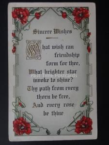 Poppies FRIENDSHIP - SINCERE WISHES c1909 Old American Embossed Postcard