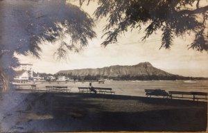 RPPC Diamond Head, Waikiki Beach, Honolulu, Hawaii ca 1920s Vintage Postcard
