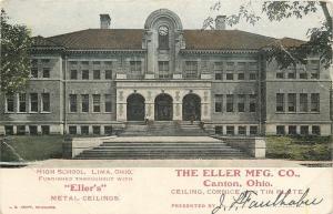 Canton Ohio~The Eller Mfg Co~Lima High School: Eller's Metal Ceilings~1907 Adv