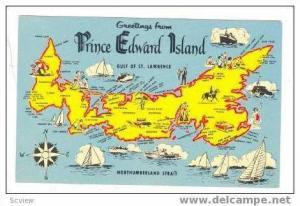Map postcard ,P.E.I.,40-60s