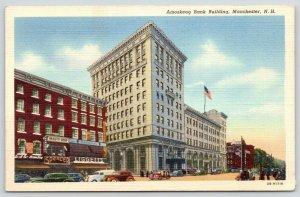 Manchester New Hampshire~Amoskeag Bank~Liggetts Drug~Beauty Shop~Cars~1944 Linen