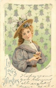 Vintage Art Postcard 1031 A/S Mailick Blue Eyed Blonde Girl, In Love's Meshes