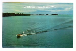 Greetings - Wautoma, Wisconsin unused Postcard, Motor Boat on Lake