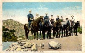 Mt. Lowe, California - Horseback riders at the Summit - 6100 feet Altitude -1920
