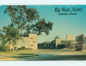 Unused Pre-1980 BIG BASS MOTEL Leesburg Florida FL u1612