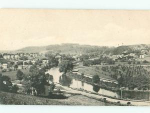 Black White Aerial View Town River Houses   Postcard # 6057