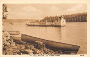 Lake of the Ozarks Missouri~Ferry Boat~Beached Canoe & Rowboat~1933 Sepia PC