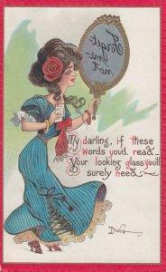 DWIG, PU-1909; Reverse Image Mirror Message, Woman Holding A Postcard Ver 3