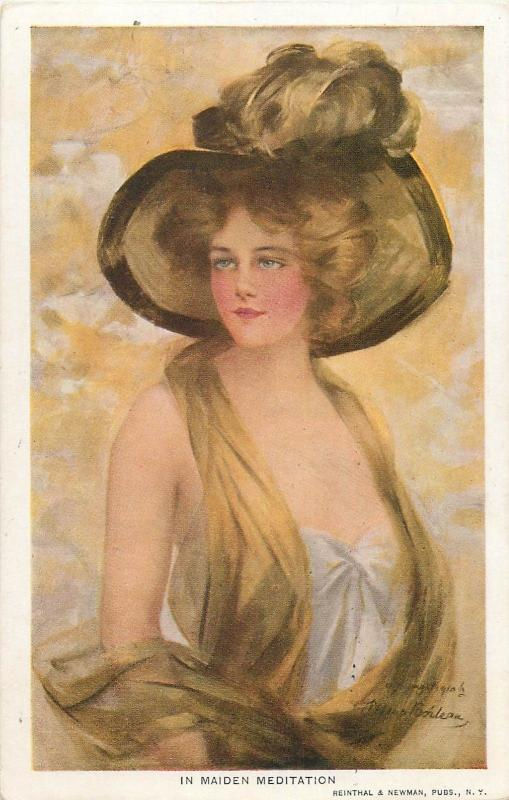 Artist signed PHILIP BOILEAU  IN MAIDEN MEDITATION  glamour lady fancy hat