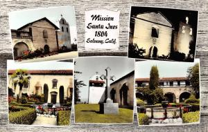 Solvang CA Multiview~1804 Mission Santa Ines~Colorized RPPC 1968 Postcard