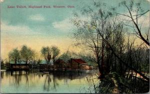 Wooster Ohio~Highland Park~Man on Rowboat on Lake Talbot~Log Cabins 1911 PC
