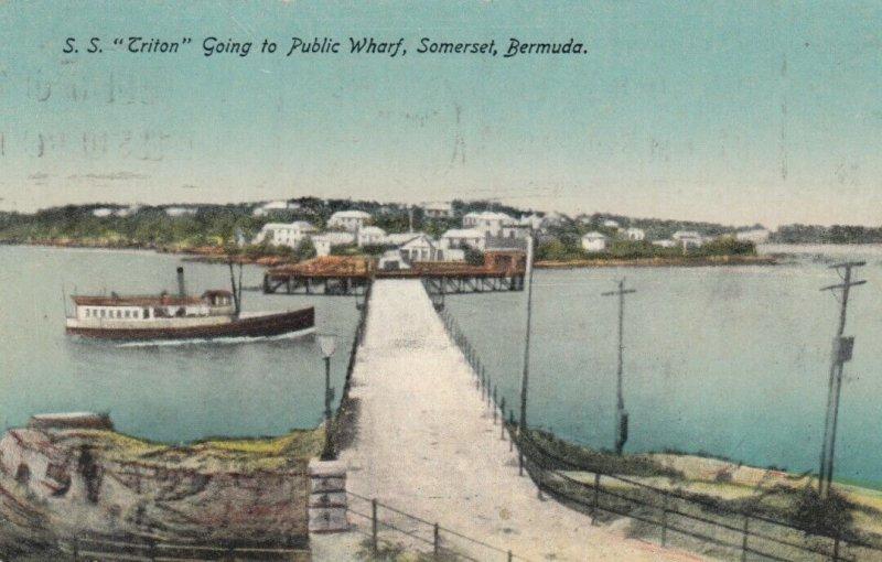 SOMERSET , BERMUDA , 00-10s ; S.S. Triton going to public wharf
