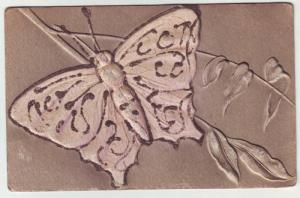 P191 JLs old postcard large butterfly deep embossed glitter