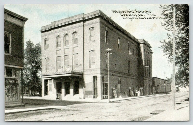 Creston Iowa~Masonic Temple~Opera House Posters~Meat Market~c1910 CU Williams