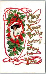 Wickware, WI Christmas Greetings Postcard May the Xmas Bells Bring Joy to You