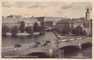 Sweden Stockholm Riksbanken Slottet och Storkyrkan 1934 RPPC