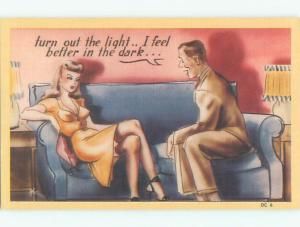 Unused Linen risque GUY WANTS TO FEEL UP SEXY GIRL IN THE DARK o3693-44
