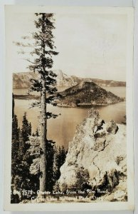 Oregon Center Lake from the Rim Road Crater Lake Natl Park RPPC Postcard N20