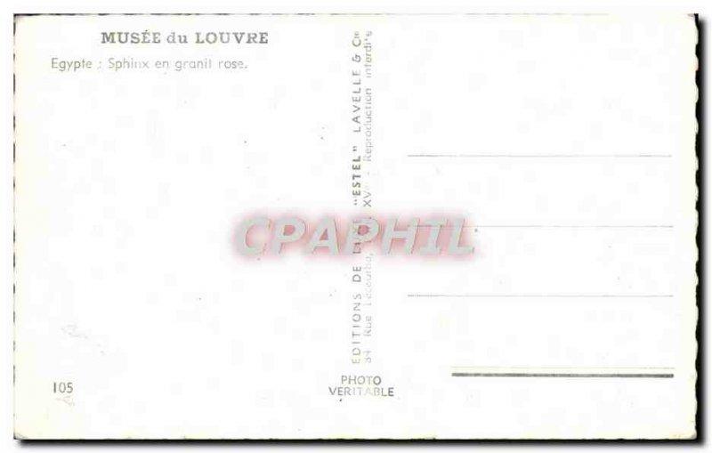 Modern Postcard Paris Louvre Museum Egypt Sphinx pink Granot