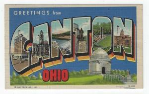 Canton, Ohio Large letter Linen Postcard With Local Views, 1949