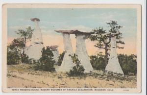 c1910 WOODMEN Colorado Co Postcard DUTCH WEDDING ROCKS Modern Woodmen of America