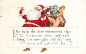 Santa Claus Carrying Mistletoe & Bag Filled with Toys, Christmas Wish 1929