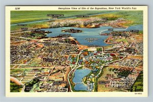 1939 New York World's Fair - Aerial View of Exposition Site Map, Linen Postcard