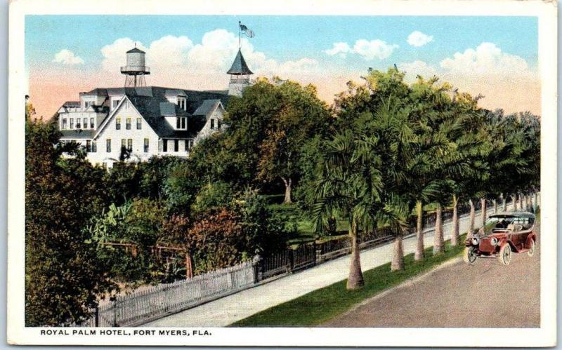 1930s Fort Myers Florida Postcard ROYAL PALM HOTEL Building View Curteich Unused