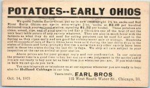 1921 Chicago IL Adv. Postcard EARL BROS. Potatoes 115 W. South Water Street