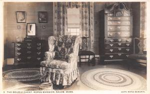Salem MA Ropes Mansion~Tall Double Chest Drawers~Plush Chair~RPPC c1929 Postcard