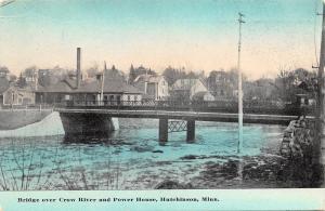 Hutchinson Minnesota~Bridge Over Crow River~Power House~Homes~1912 Postcard
