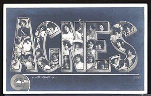 USA Postcard Girl's Name Agnes Large Letter Rotograph 1905