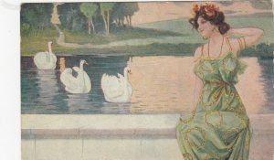 Art Nouveau ; Woman & Swan , 00-10s ; KIRCHNER