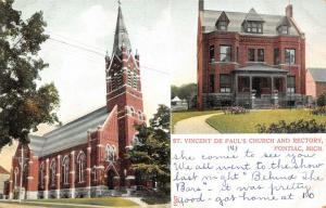 Pontiac Michigan~St Vincent De Paul Church~Rectory Parish House Inset~1905 PC