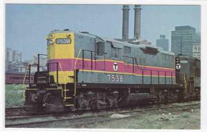 Boston MBTA 7538 Railroad Train South Station Massachusetts postcard