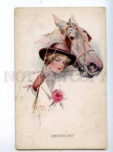234533 HORSE Lady RIDER Driving Out by Court BARBER Vintage PC