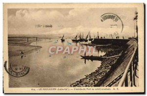 Old Postcard Pouliguen L & # 39Entree the Port at Sunset Ferries