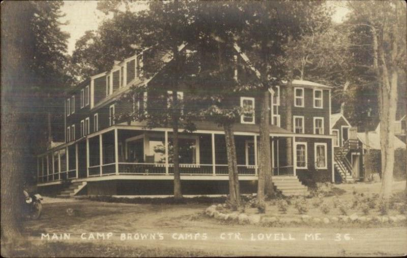 Center Lovell ME Main Camp at Crown's #36 c1920 Real Photo Postcard