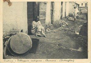 Post card Eritrea Asmara indigenous village ethnic types